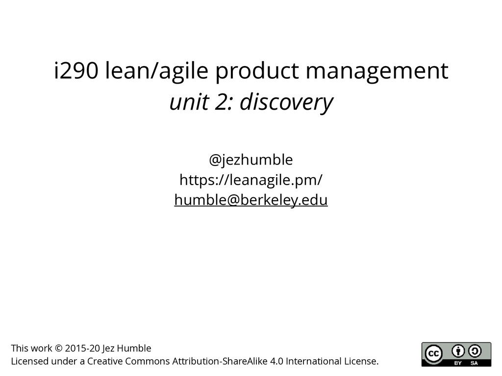 i290 lean/agile product management unit 2: disc...