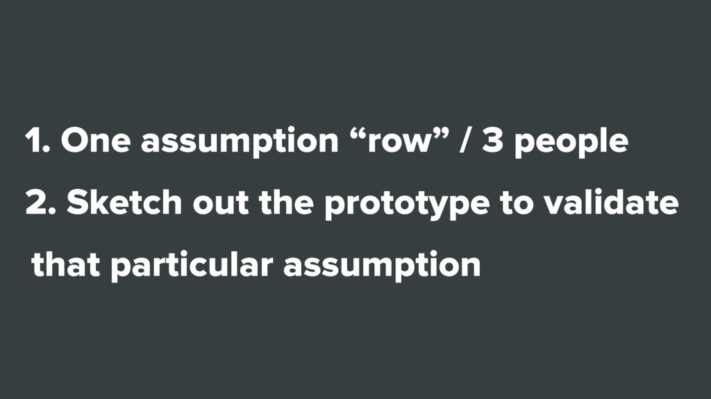 """1. One assumption """"row"""" / 3 people 2. Sketch ou..."""
