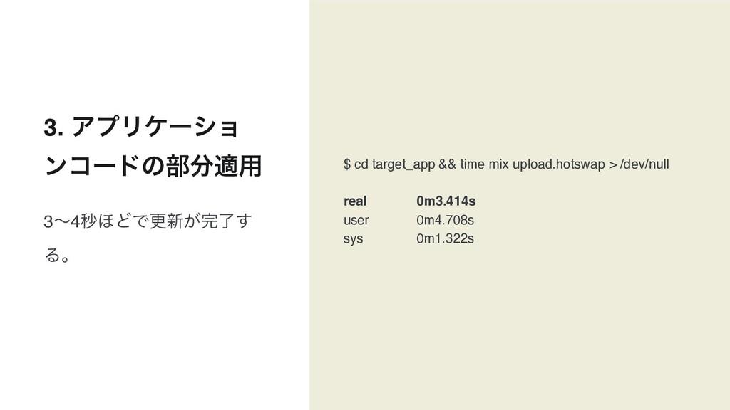 3. ΞϓϦέʔγϣ ϯίʔυͷ෦ద༻ $ cd target_app && time mi...