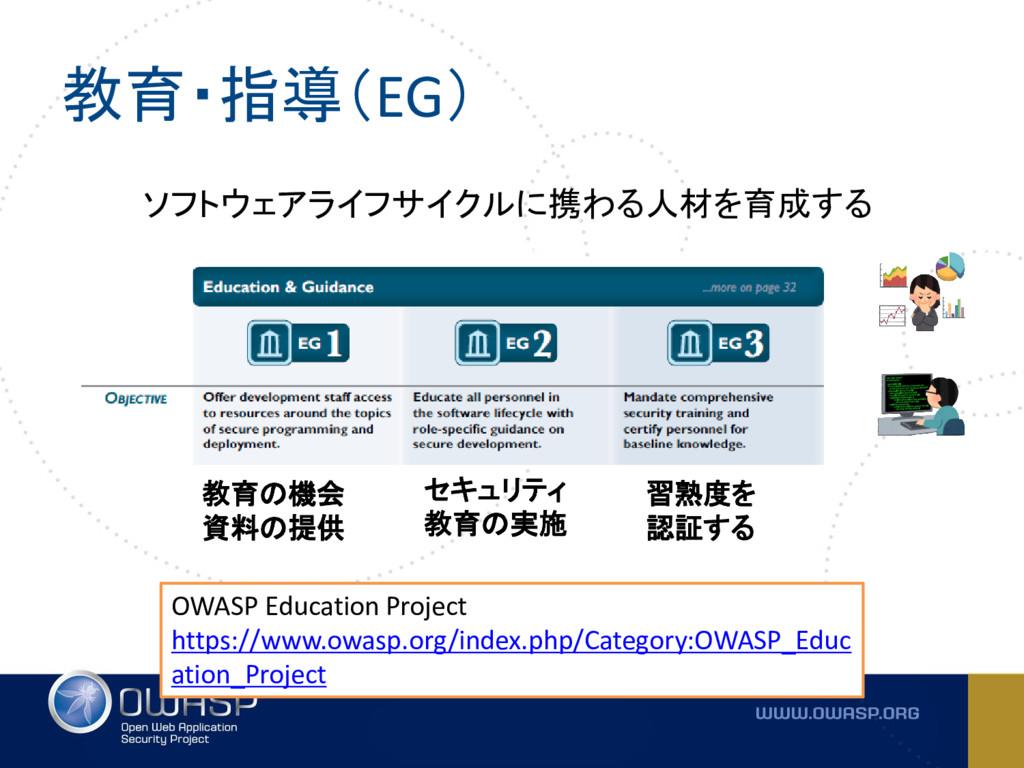 教育・指導(EG) ソフトウェアライフサイクルに携わる人材を育成する OWASP Educat...