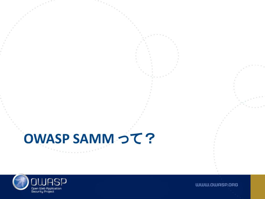 OWASP SAMM って?