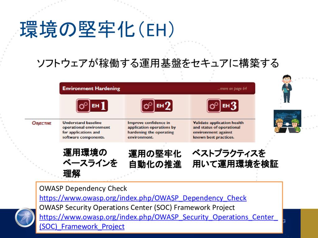 環境の堅牢化(EH) OWASP Dependency Check https://www.o...