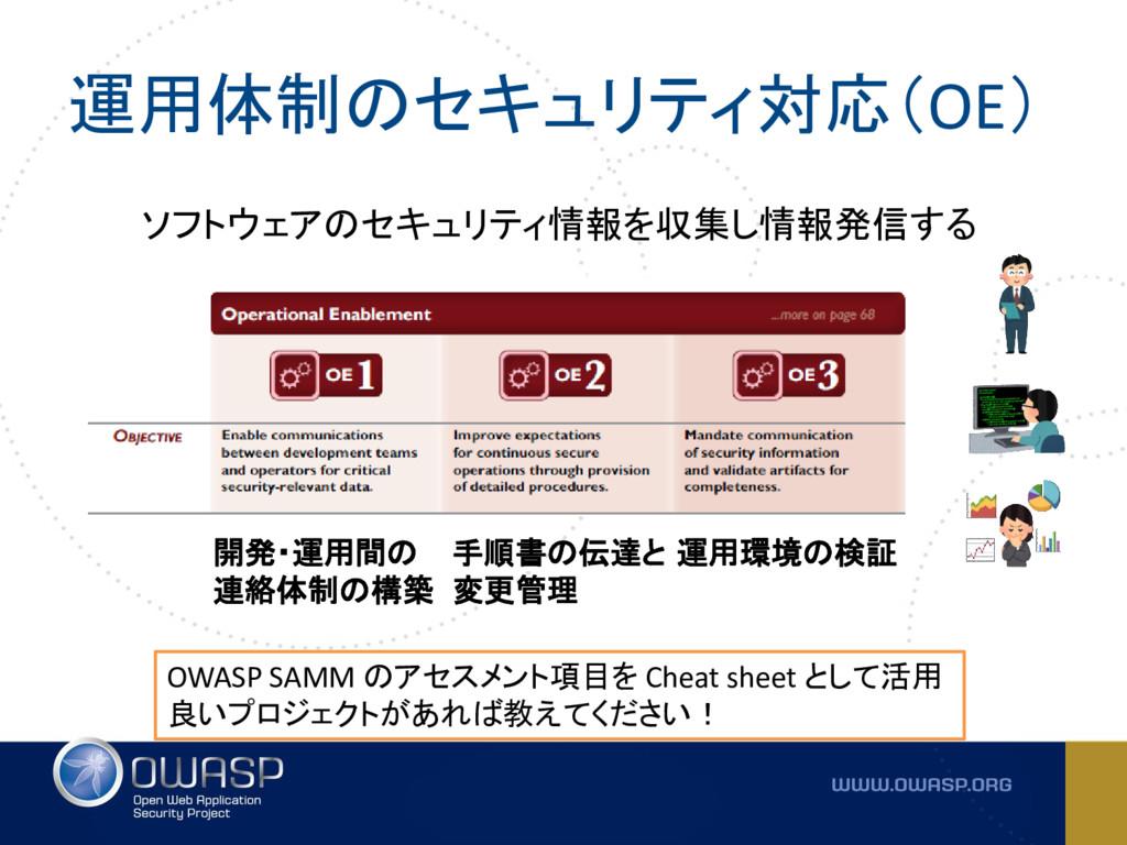 運用体制のセキュリティ対応(OE) OWASP SAMM のアセスメント項目を Cheat s...