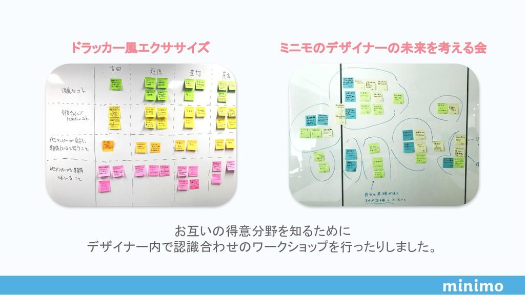 お互いの得意分野を知るために デザイナー内で認識合わせのワークショップを行ったりしました。 ド...