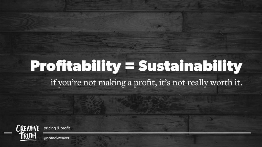 pricing & profit @sbradweaver Profitability = Sus...