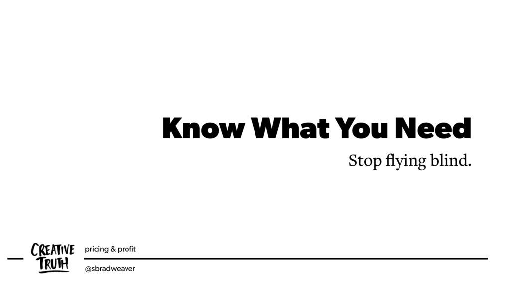 pricing & profit @sbradweaver Know What You Need...