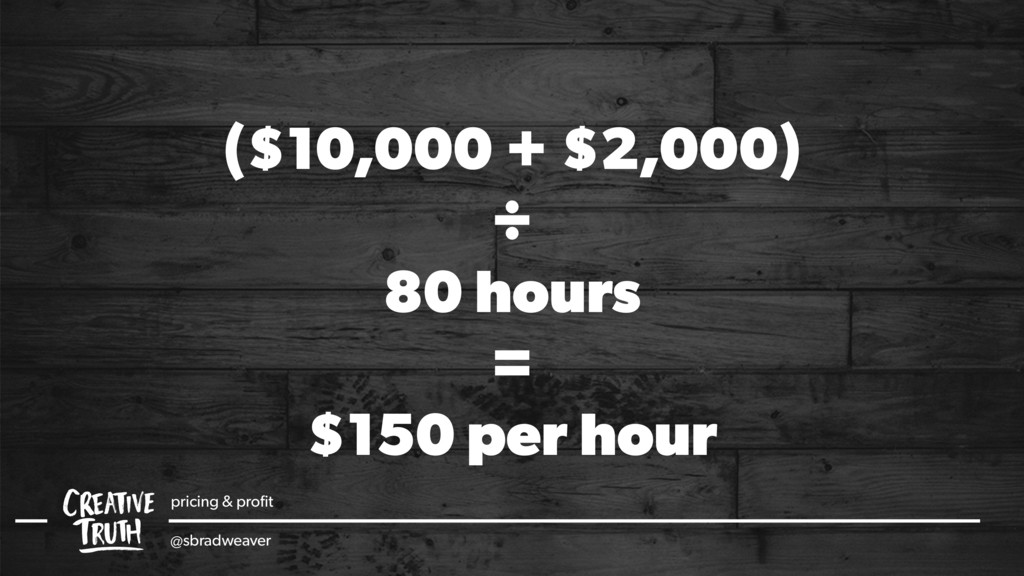 ($10,000 + $2,000) ÷ 80 hours = $150 per hour p...