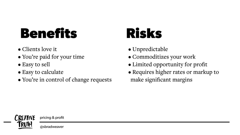 pricing & profit @sbradweaver Benefits Risks • Cl...