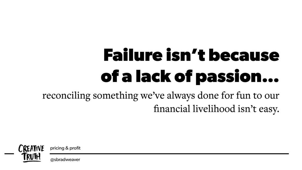 pricing & profit @sbradweaver Failure isn't beca...