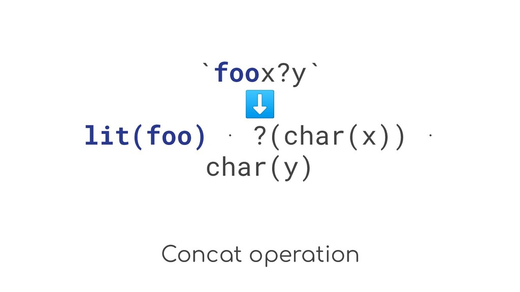 Concat operation `foox?y` ⬇ lit(foo) ⋅ ?(char(x...