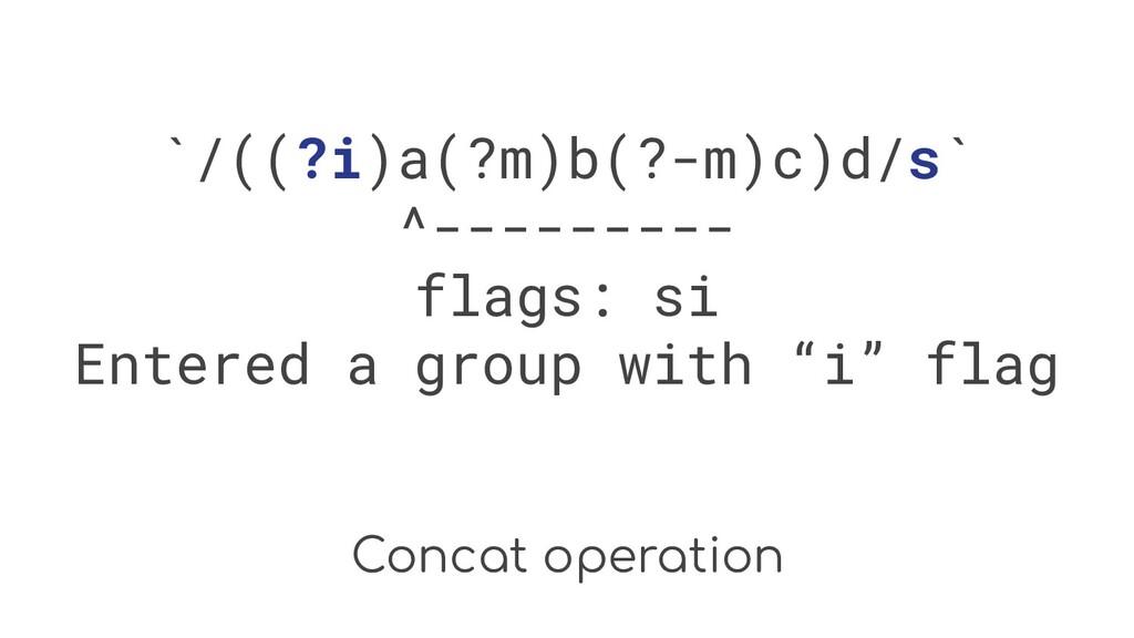 Concat operation `/((?i)a(?m)b(?-m)c)d/s` ^----...