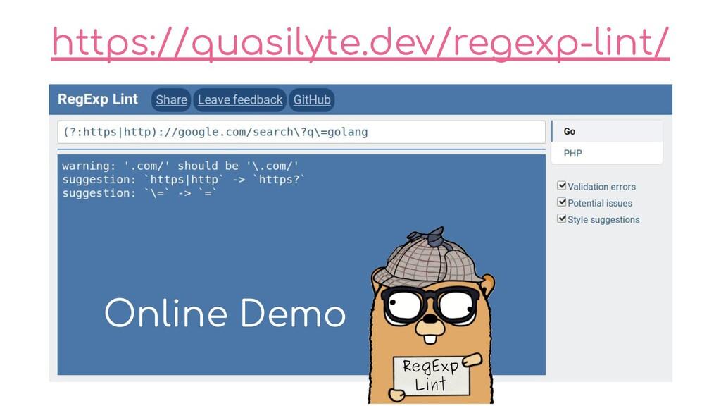 https://quasilyte.dev/regexp-lint/ Online Demo
