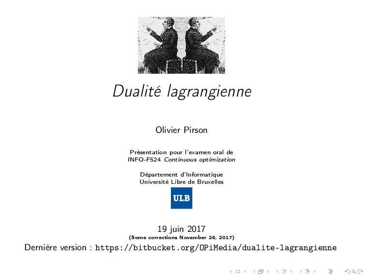 Dualité lagrangienne Olivier Pirson Présentatio...