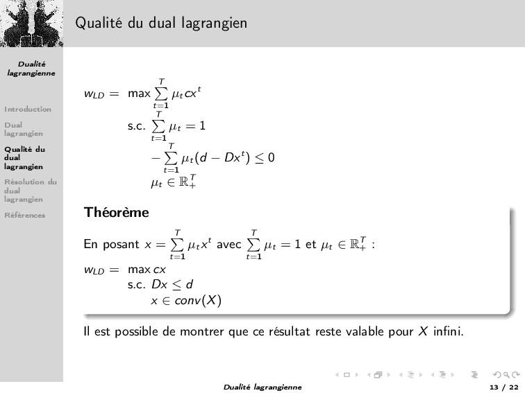 Dualité lagrangienne Introduction Dual lagrangi...
