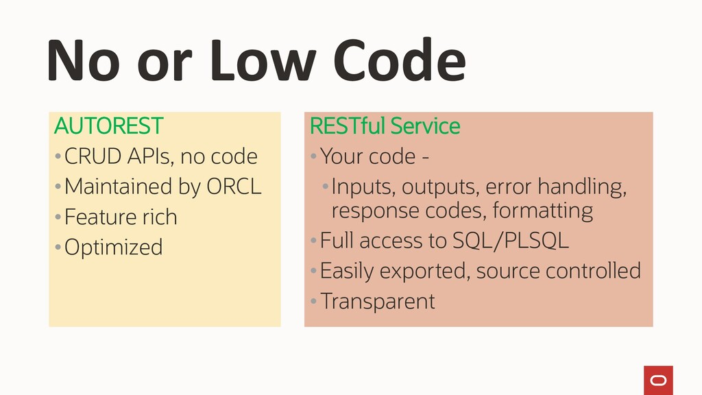 AUTOREST •CRUD APIs, no code •Maintained by ORC...