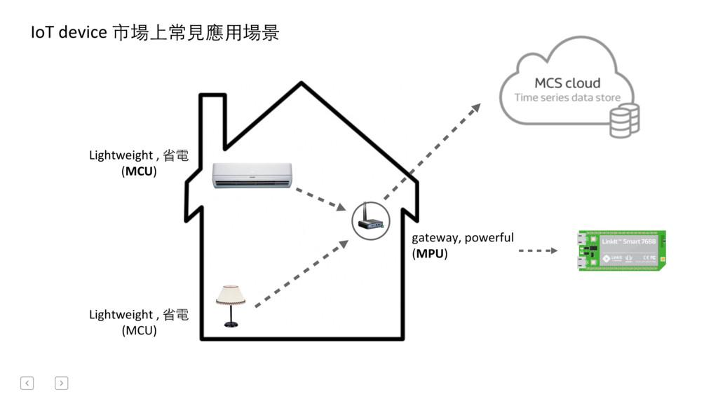 IoT device 市場上常⾒見應⽤用場景  Lightweight ...