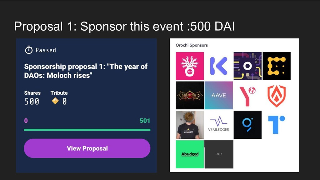 Proposal 1: Sponsor this event :500 DAI