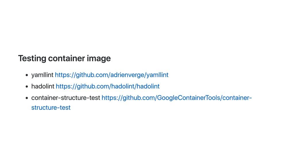 Testing container image yamllint https://github...