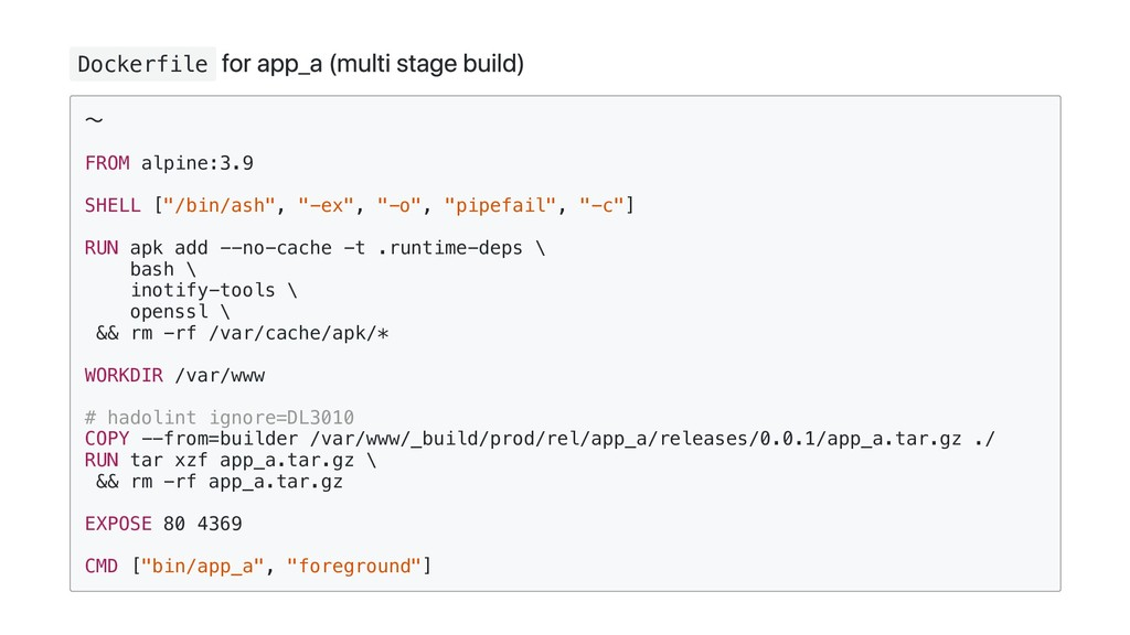 Dockerfile for app_a (multi stage build) ~ FROM...