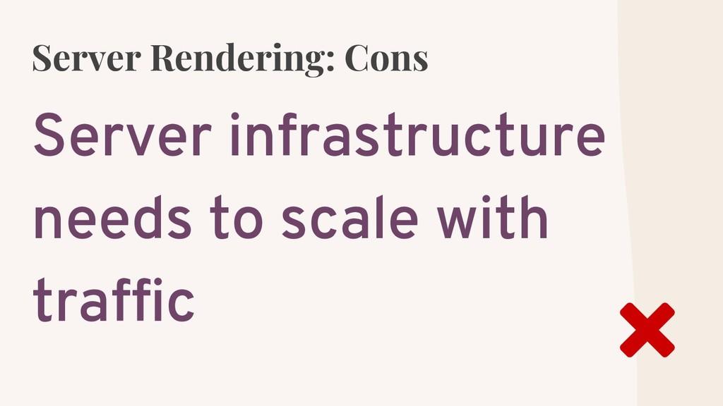Server Rendering: Cons Server infrastructure ne...