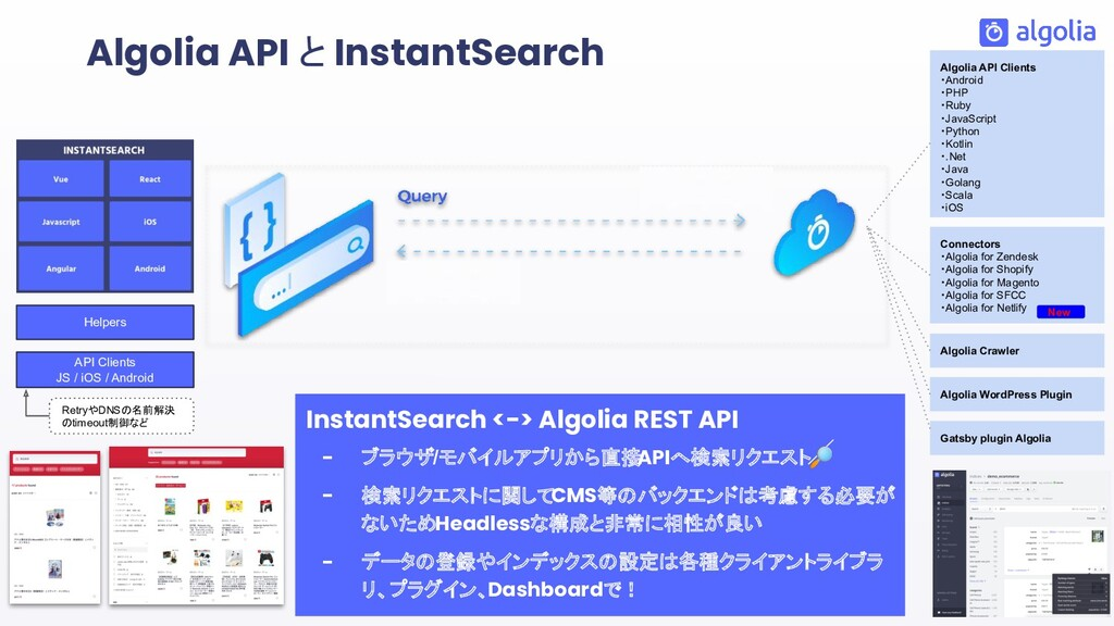 InstantSearch <-> Algolia REST API - ブラウザ/モバイルア...