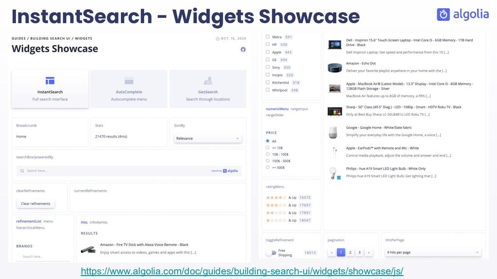 InstantSearch - Widgets Showcase https://www.al...