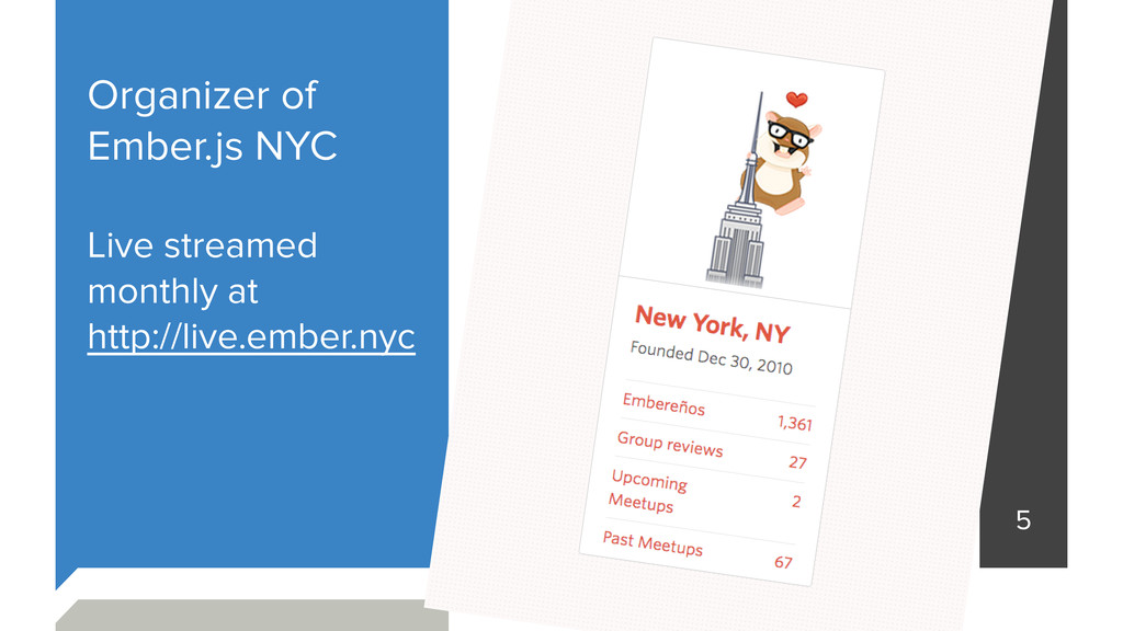 Organizer of Ember.js NYC Live streamed monthly...