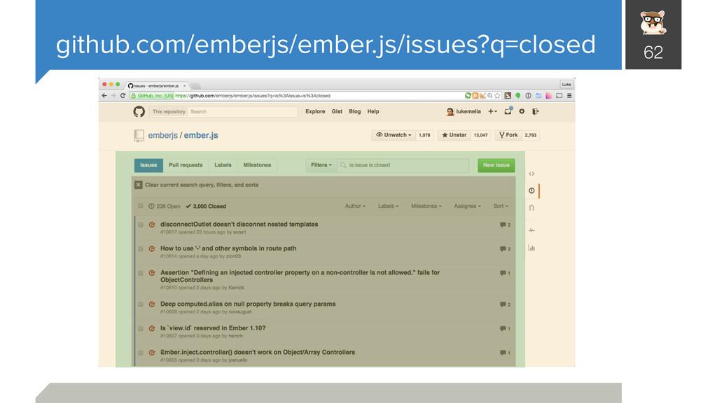 github.com/emberjs/ember.js/issues?q=closed 62