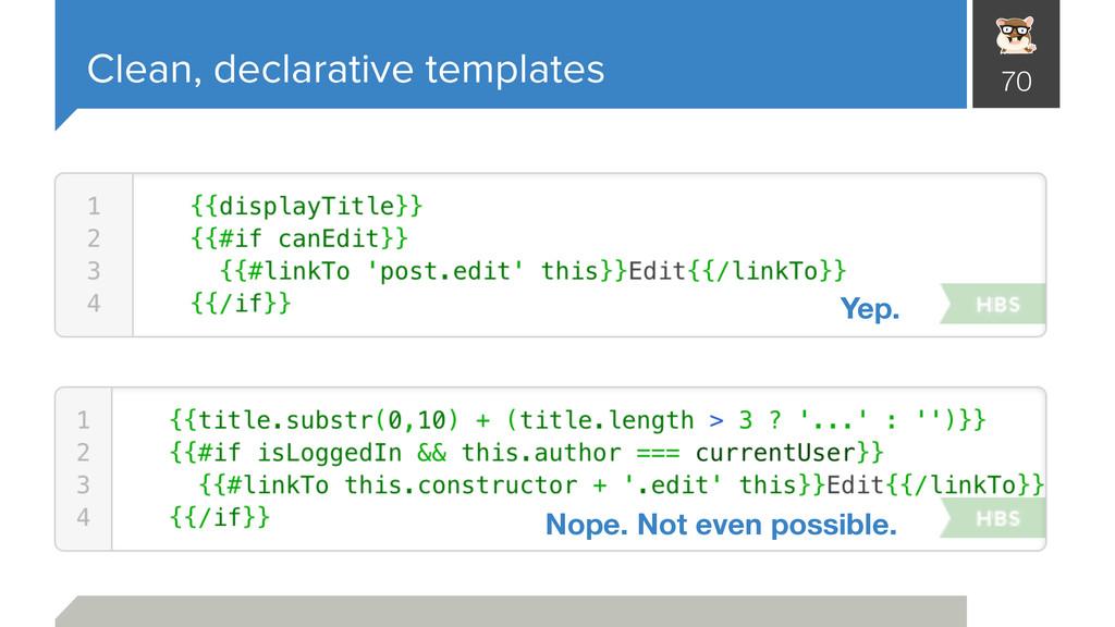 Clean, declarative templates 70 Yep. Nope. Not ...