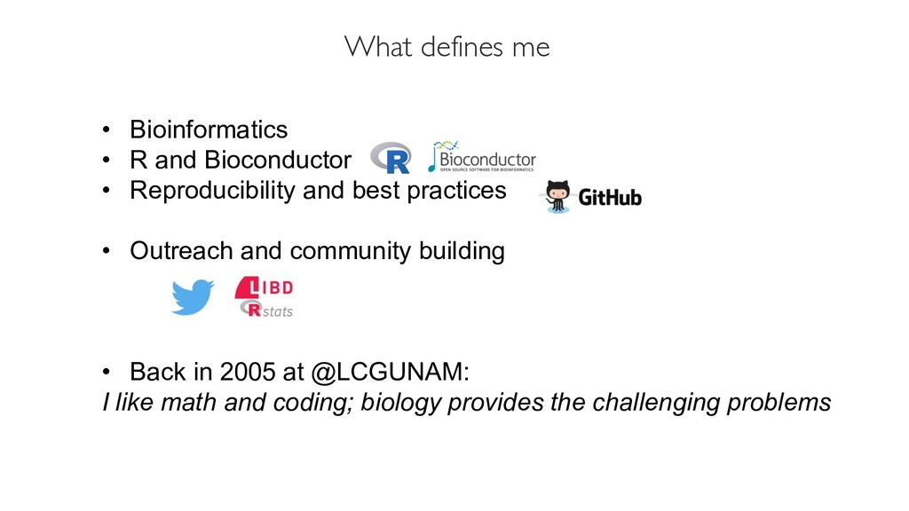 What defines me • Bioinformatics • R and Biocon...