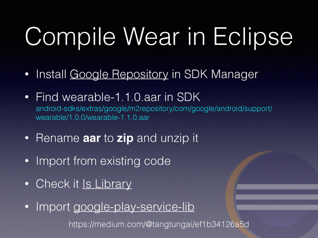 Compile Wear in Eclipse • Install Google Reposi...
