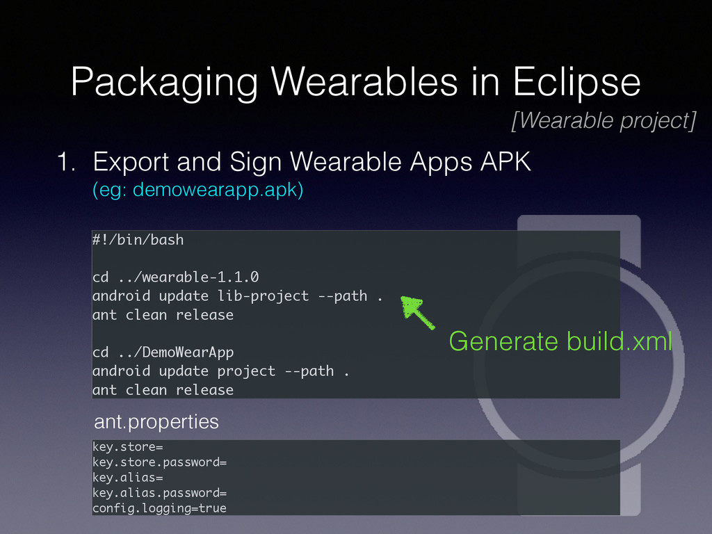 Packaging Wearables in Eclipse 1. Export and Si...