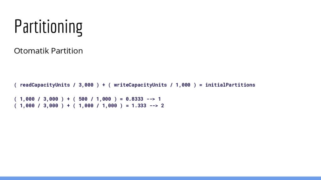 Partitioning Otomatik Partition ( readCapacityU...