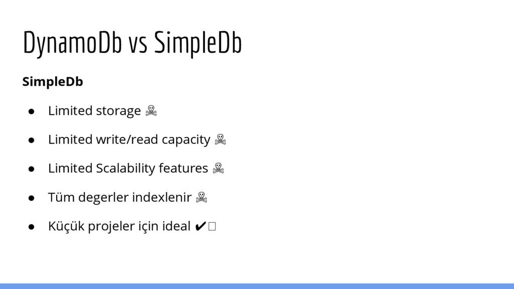 DynamoDb vs SimpleDb SimpleDb ● Limited storage...