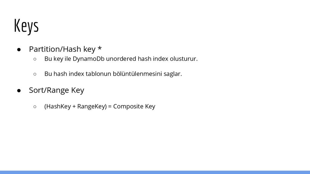 Keys ● Partition/Hash key * ○ Bu key ile Dynamo...