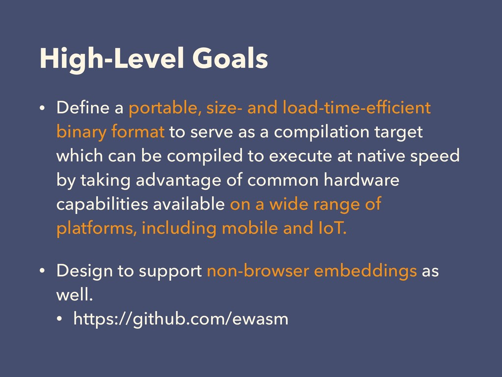 High-Level Goals • Define a portable, size- and ...