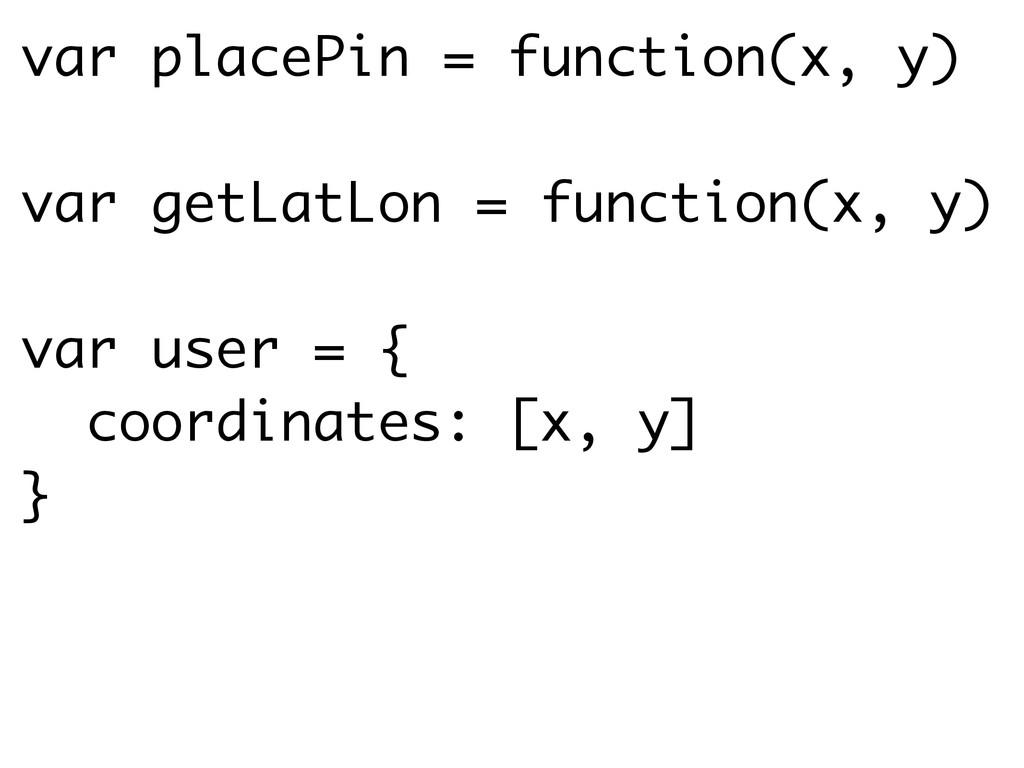 var placePin = function(x, y) ! var getLatLon =...