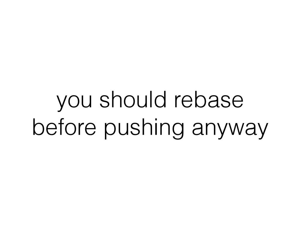 you should rebase before pushing anyway