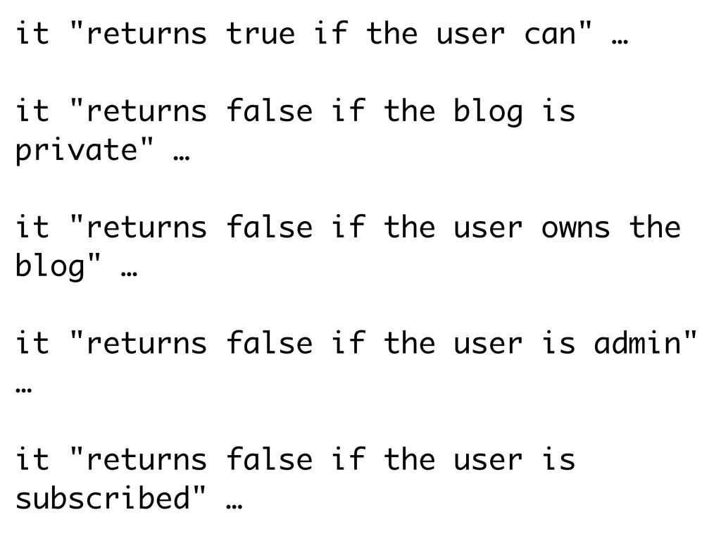 "it ""returns true if the user can"" … ! it ""retur..."