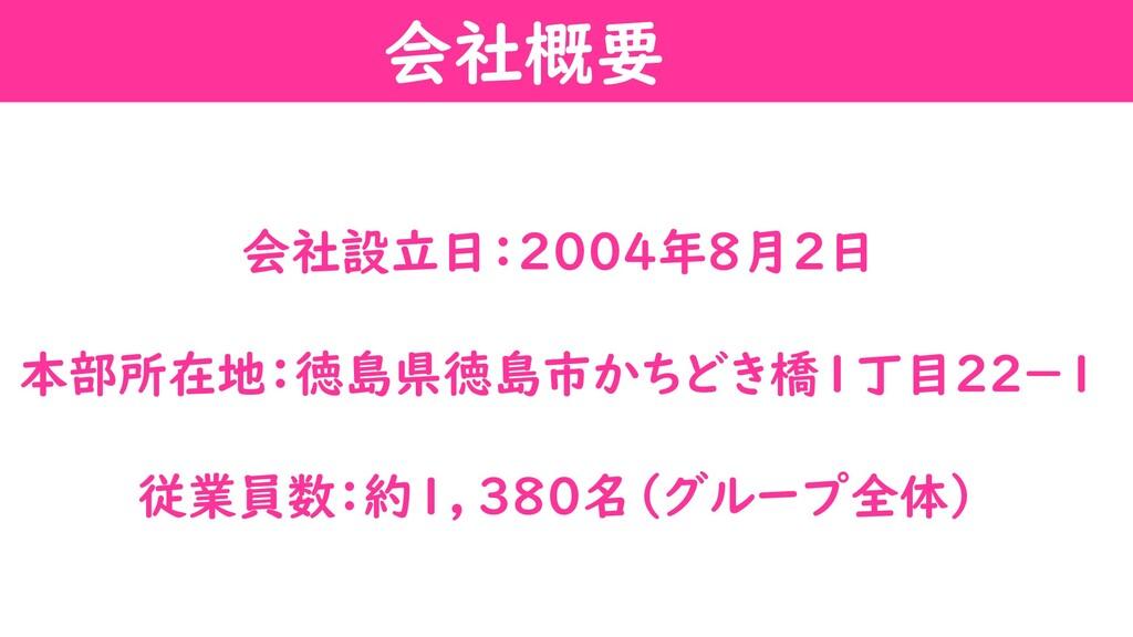 会社設立日:2004年8月2日 本部所在地:徳島県徳島市かちどき橋1丁目22-1 従業員数:約...