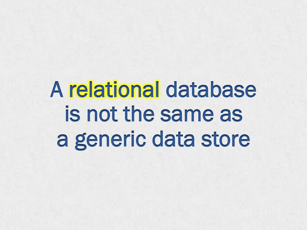 A relational database is not the same as a gene...