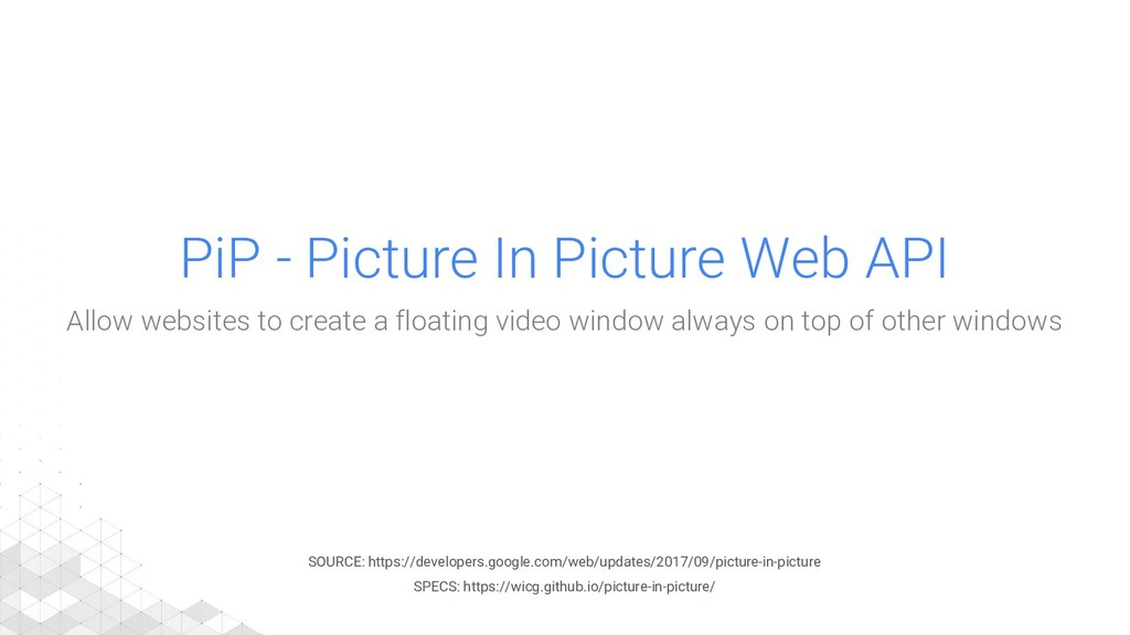 PiP - Picture In Picture Web API Allow websites...