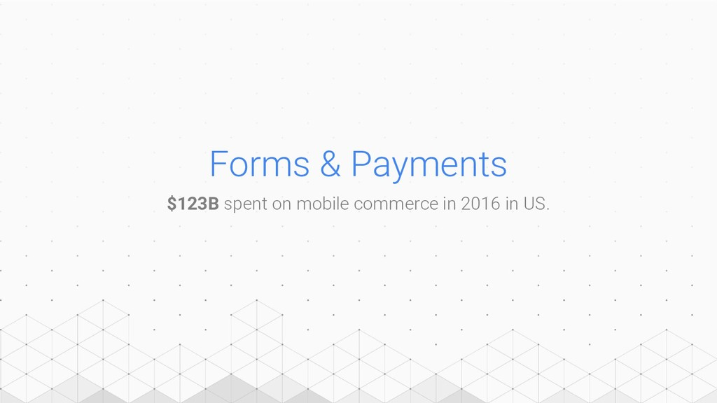Forms & Payments $123B spent on mobile commerce...