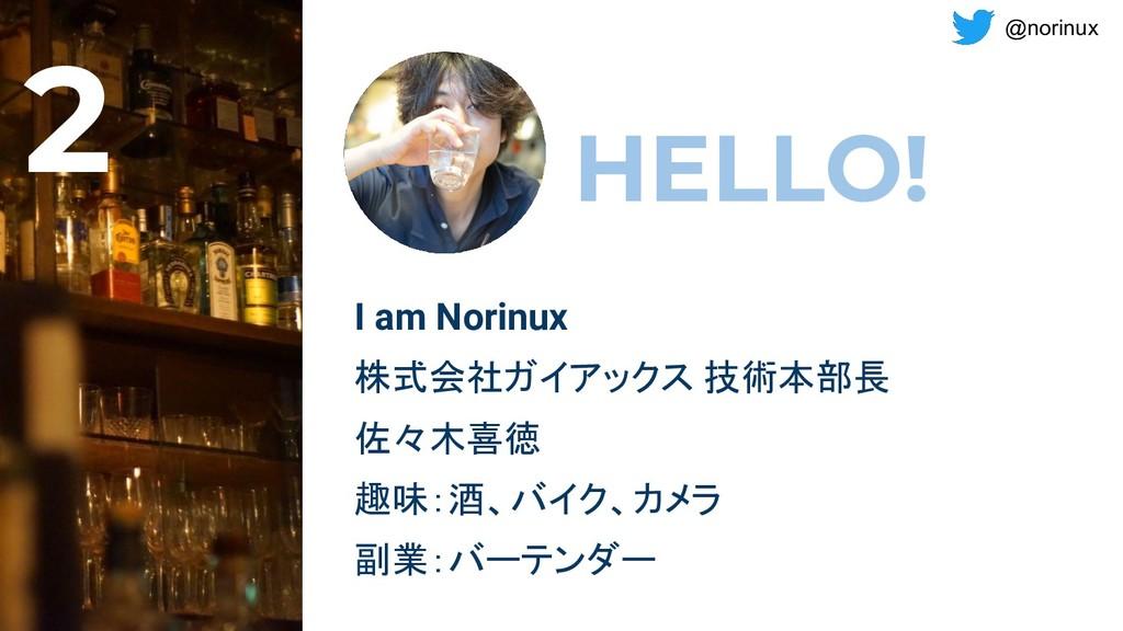 @norinux HELLO! I am Norinux 株式会社ガイアックス 技術本部長 佐...