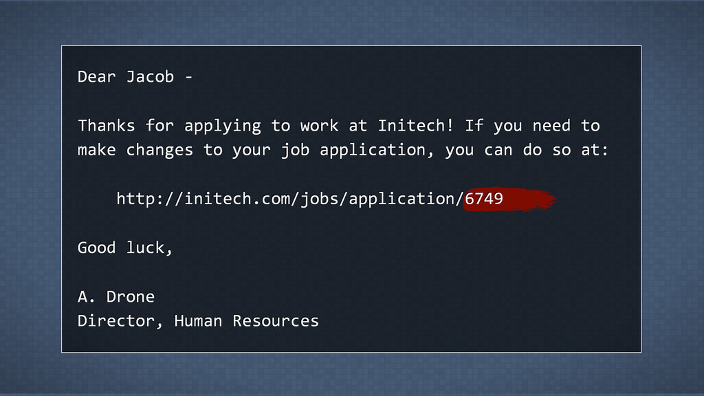 Dear  Jacob  -­‐ Thanks  for  applying  to  wor...