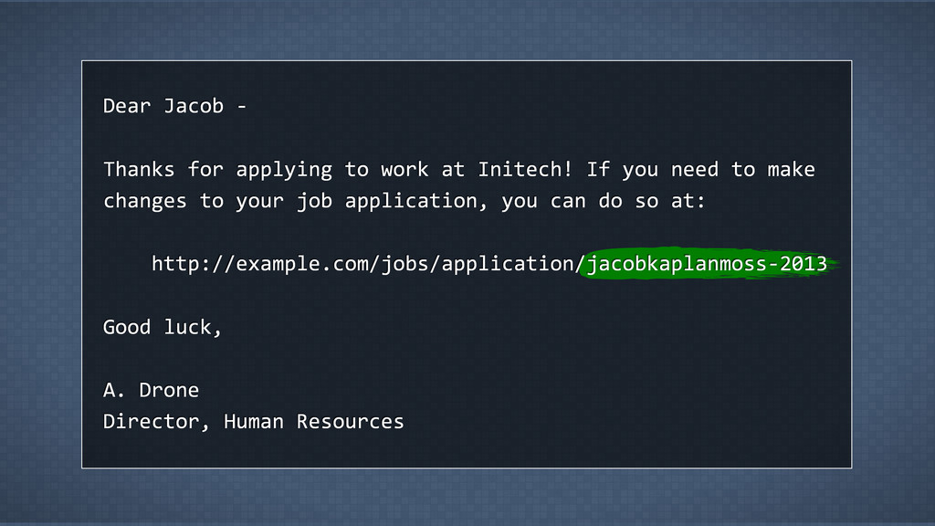 Dear Jacob -‐ Thanks for applying to wor...