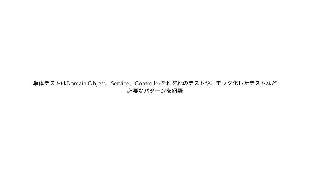 単体テストはDomain Object 、Service 、Controller それぞれのテ...