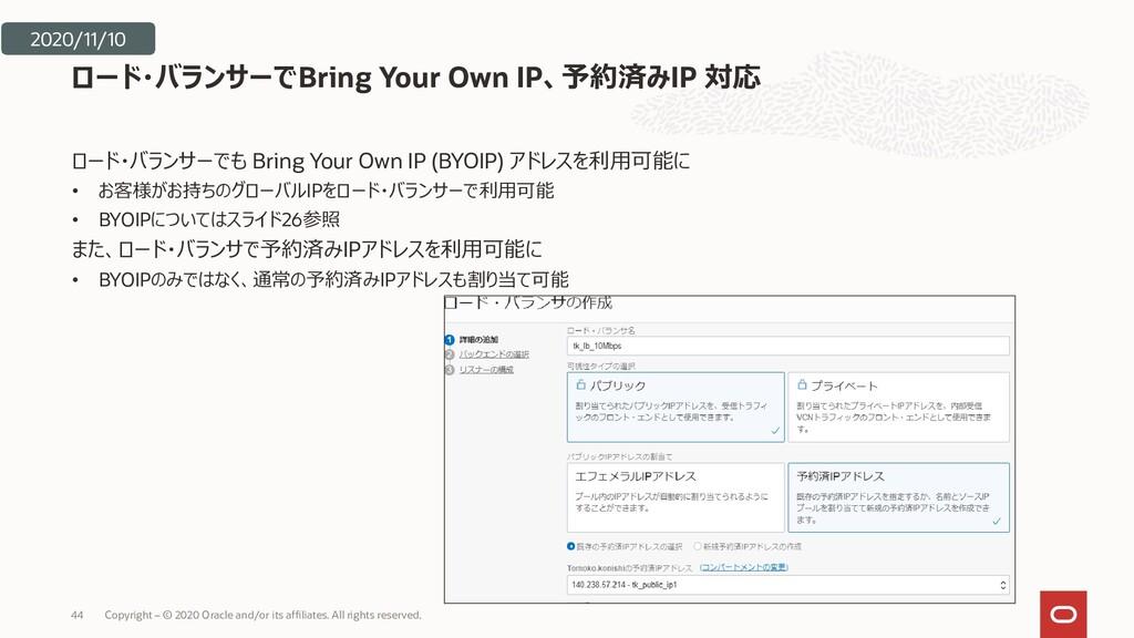 ロード・バランサーでも Bring Your Own IP (BYOIP) アドレスを利用可能...