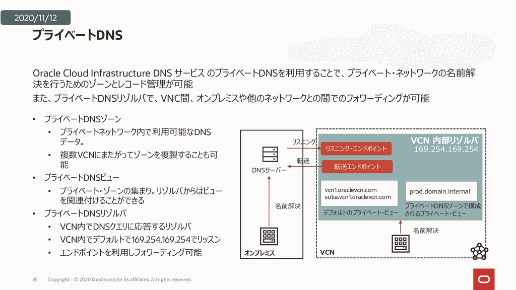 VCN 内部リゾルバ 169.254.169.254 VCN Oracle Cloud Inf...