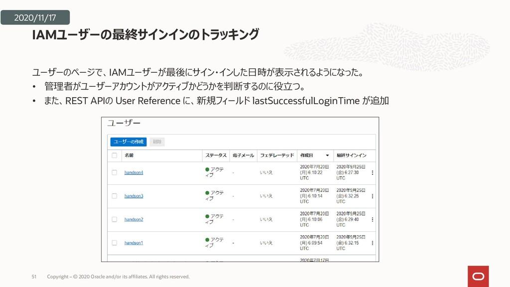 ユーザーのページで、IAMユーザーが最後にサイン・インした日時が表示されるようになった。 • ...